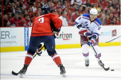 Marian Gaborik #10 of the New York Rangers handles the puck against the Washington Capitals