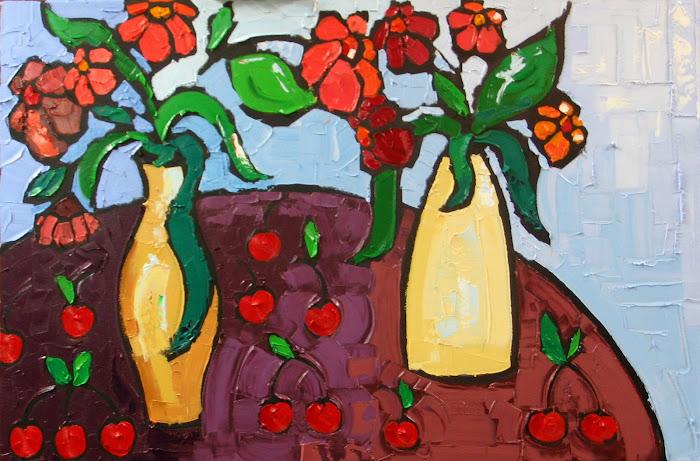 Petites cerises rouges 24 x 36_Café Morgane