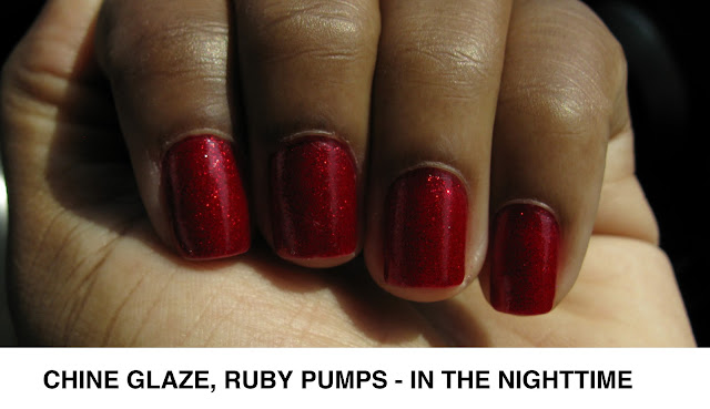 Swatch of China Glaze Nail Polish in Ruby Pumps