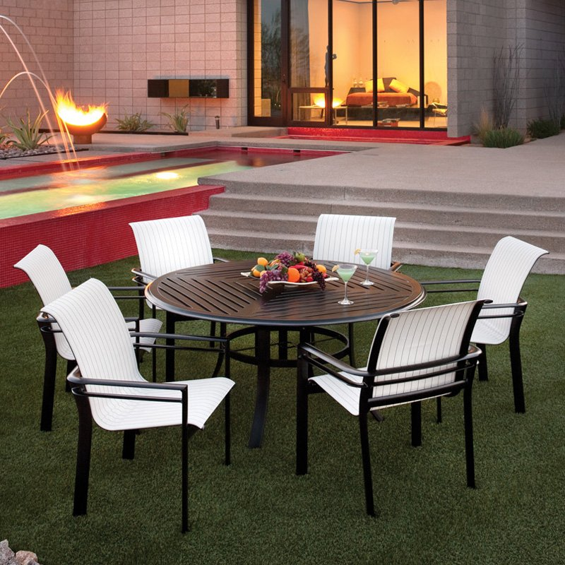 Modern living room furniture winston southern cay sling for Outdoor dining room sets