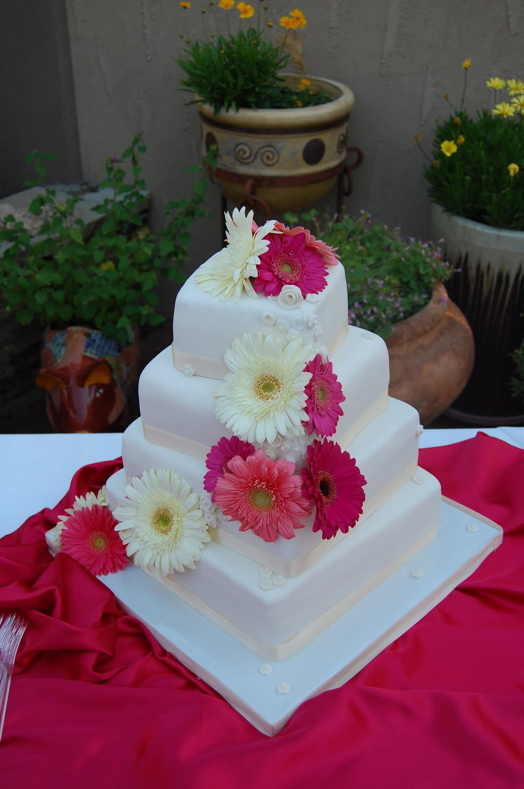 Square Wedding Cakes With Flowers Viewing Gallery