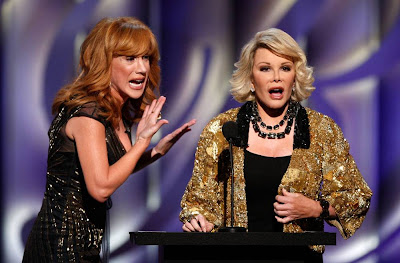 Kathy Griffin, left, joins Joan Rivers onstage