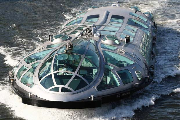 The new futuristic Himiko water bus seen sailing between Asakusa and Odiba