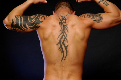 Men Tribal Tattoo Design For Back and Arms