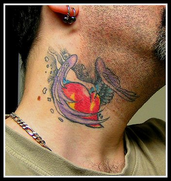 Heart with Wings Tattoo Design on Guys Neck