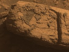 This image from the panoramic camera on NASA's Mars Exploration Rover Opportunity shows a rock called