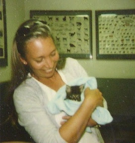 Me with Mickey the day we adopted one another at the vets!