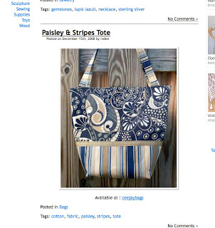 CeeJay Bags paisley stripe tote on the Art Zoo