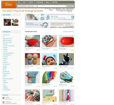 Carried Away TM on Etsy Front page screen shot