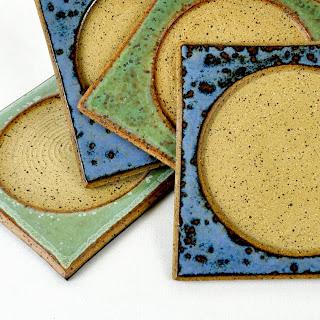 Handmade Stoneware Coasters by glazedOver Pottery