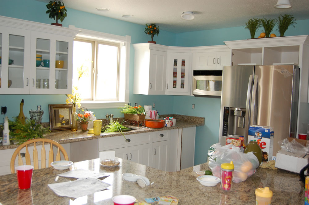 Happily ever after is always a good idea red kitchen aid for Blue kitchen paint color ideas