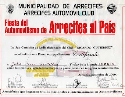 MUNICIPALIDAD DE ARRECIFRES  -  ARRECIFRE AUTOMOVIL CLUB