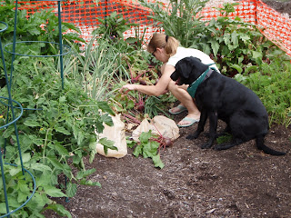 Betsy and Makai in the garden