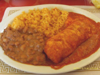 Chicken enchilada with beans and rice...excellent!