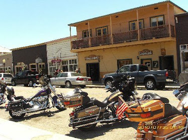 Motorcycles instead of horses are in vogue in this 'Old West' town...