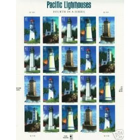 Pacific Lighthouse Us United States Postage Pane of 20 x 41 Cent Stamps NEW
