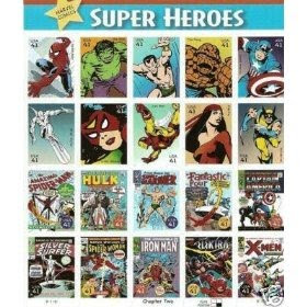 Marvel Super Heroes 20 Stamp Pane Comic Sheet