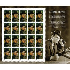 200 EDWARD G ROBINSON #3446 Legends of Hollywood Souvenir Sheet of 20 x 33 cents US Postage Stamps