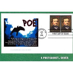 PostCachet Edgar Allen Poe Stamp First Day Cover, Double Stamp