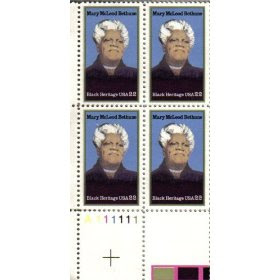 1985 MARY MCLEOD BETHUNE ~ BLACK HERITAGE #2137 Plate Block of 4 x 22 cents US Postage Stamps