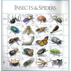 1999 INSECTS & SPIDERS #3351 Pane of 20 x 33 cents US Postage Stamps