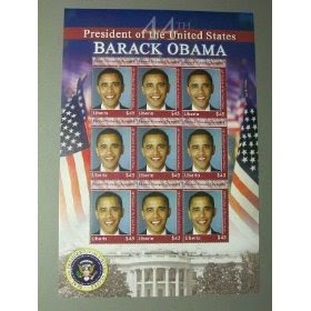 Barack Obama Postage Stamps! Set of 9 issued by Liberia!