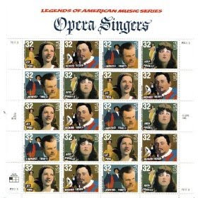 1997 OPERA SINGERS #3157a Pane of 20 x 32 cents US Postage Stamps