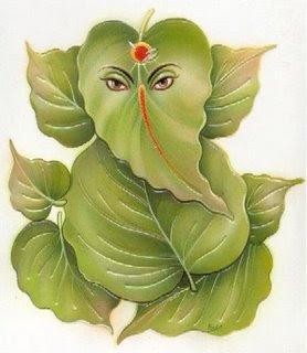 Ganesh pooja: leaves Vinayaka