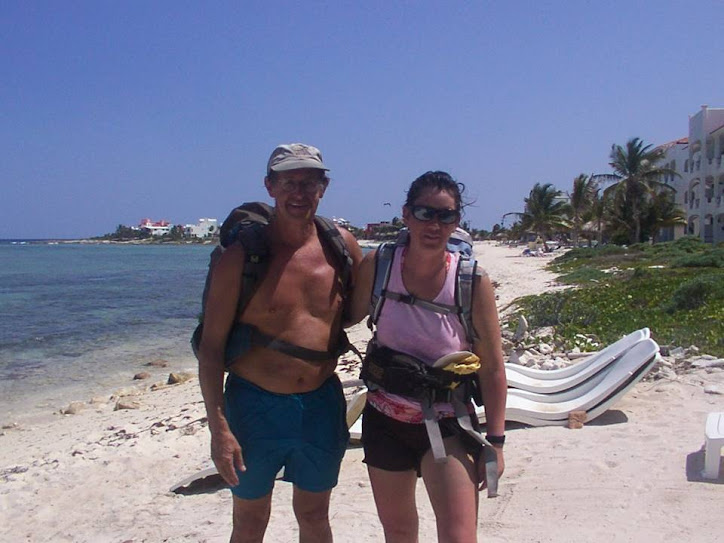 Hiking the Yucatan coastline, Richard Bailey and Wendy Morrill