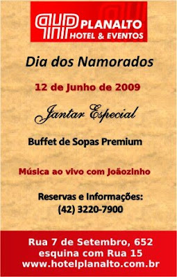 Jantar de Dia dos Namorados do Hotel Planalto Ponta Grossa