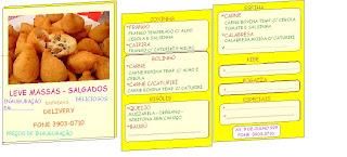 sugestão de cardápio tipo panfleto, com foto de coxinhas fritas