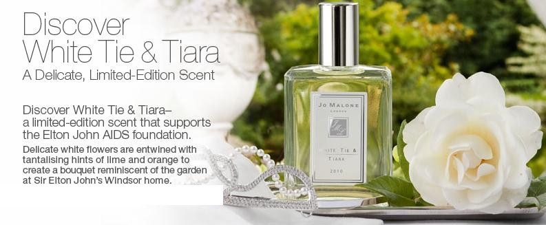 Best things in beauty jo malone white tie tiara to benefit elton just when im sure ive spent too much for the month along comes an e mail like this one jo malone has introduced a new limited edition fragrance white mightylinksfo