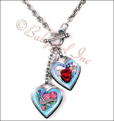 from Classic Hardware features two cute tattoo artwork hearts encased in