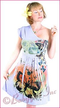 Lavender Butterfly Print One Shoulder Flirty Short Sleeve Boho Dress for Summer
