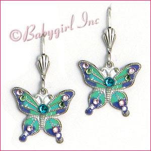Anne Koplik Jewelry - Blue & Lavender Purple Brushed Silver Enameled Lever-back Butterfly Earrings