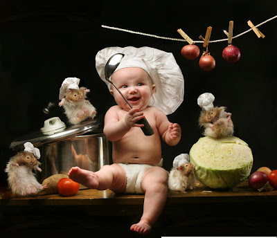 Ready For Food by Our New Cute Chef Baby
