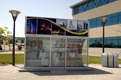 Air-conditioned bus stop, presumably near Burj Al Arab hotel in Dubai