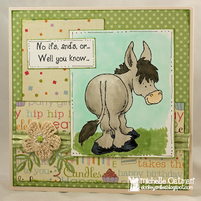 Stamps Paper Scissors And Donkey Smiles A Hee Haw Birthday Card