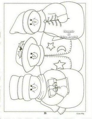... Boneco de Neve e vários outros desenhos para fazer enfeites de Natal