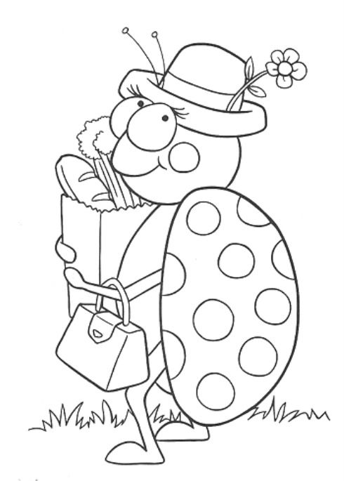 Uma coleção de desenhos e riscos de joaninhas para você pintar
