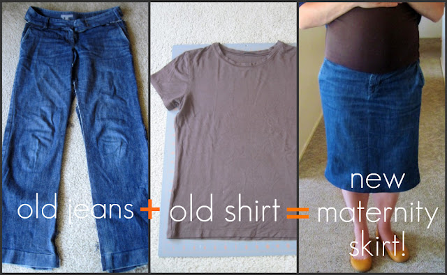 homemade by jill: Refashioned Jeans to Maternity Skirt Tutorial