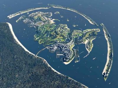 Artificial islands shaped like Russia