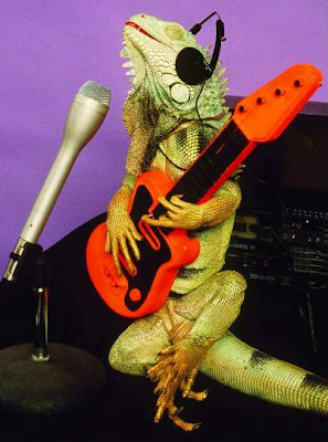 Lizard posing with guitars