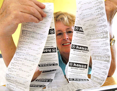 Judy Clifton with the receipt