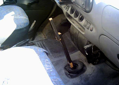 Shifter replaced by a wooden stick