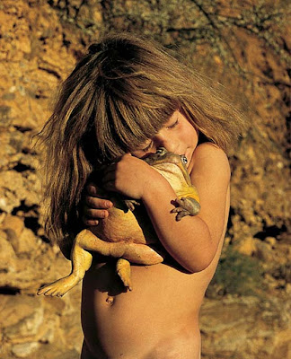 Tippi with a frog