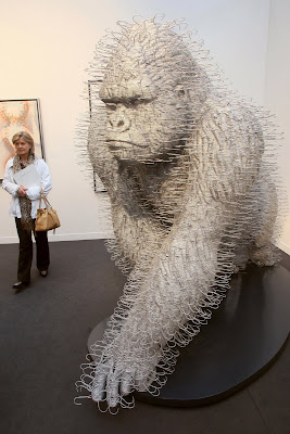 Sculpture made from clothes hangers