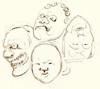 Manju formed of a group of 7 noh theatre masks; Late 19th century, ivory.