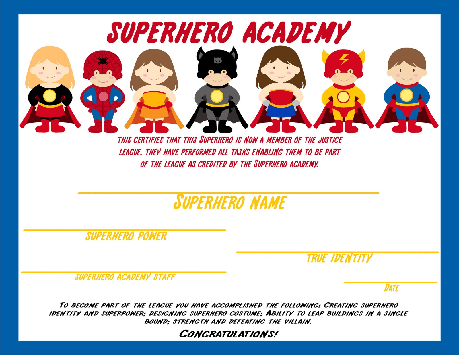 Nifty image with super hero printable