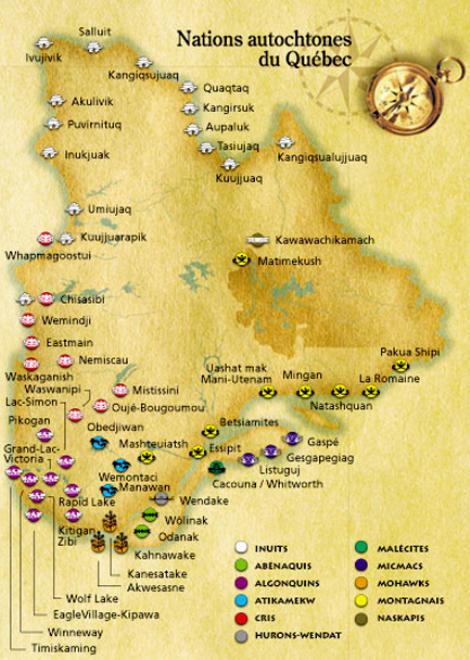 mapa naciones autoctonas de quebec
